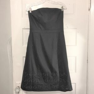 Ann Taylor Sz 6 Black Strapless Cotton Dress Lined